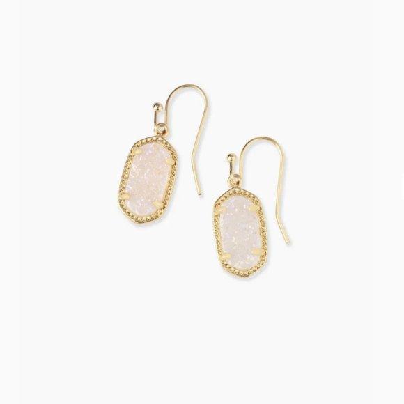 Kendra Scott Lee Gold Earrings Iridescent Drusy